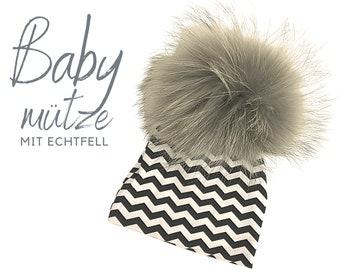 Baby hat | Bommelhat Echtfell | grey black white | Raccoon Puschel | Fur | First-time hat | Infant | Gift Birth Baptism | Bommel