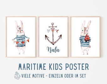 Maritime Poster for Kids | personalized gift baptism birth | Name | Watercolour | Pictures in set with bunny anchor lighthouse ship