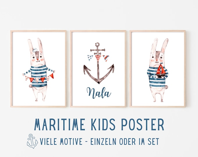 Maritime Poster for Kids   personalized gift baptism birth   Name   Watercolour   Pictures in set with bunny anchor lighthouse ship