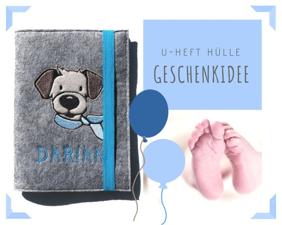 U-Hefthülle | Hefthülle | Felt | Wish name | Dog | Case investigation booklet | Individually embroidered | Gift Birth or Baptism