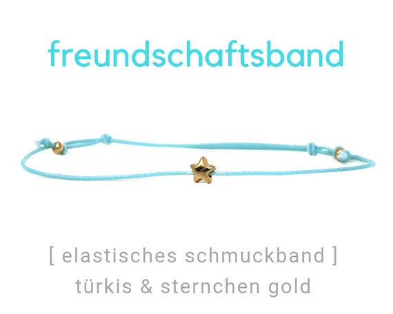 Elastic Friendship Band | Jewelry Band | Golden Asterisk | Gold & Turquoise | Rubber | Sliding knots | Wish Band | Elastic band | Star