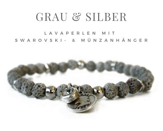 Grey Lavaperlen bracelet with coin & Swarovski pendant | Elastastic | Lava | Elastic bracelet | Pearl bracelet | Crystal rhinestone rhinestone silver