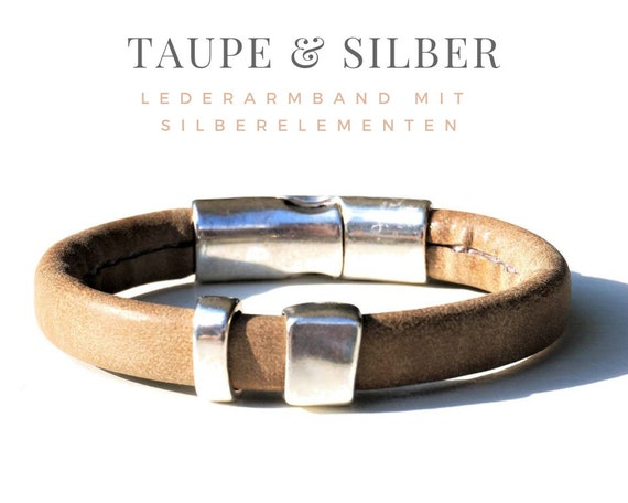 Leather Bracelet | Silver Plated Metal Elements | Magnet | Suede Imitation | Beige | Silver | Light brown Taupe