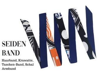 Narrow silk scarf | Handbag handle | Wrap | Cloth | Hair band | Silk ribbon | Bracelet | Foulard | Pocket band purple blue violet orange