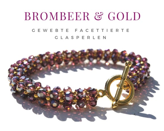 Woven Bracelet | Faceted Glass Beads | Purple BlackBerry Lilac Gold | Gag Closure | Pearl Bracelet | Beadwork | Miyuki beads