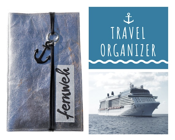 Travel Organizer | Silver | Travel Documents Case | Document Folder | Traveller | Travel Case Cruise | Passport | Map | Anchor
