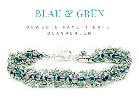 Woven Bracelet | Green Blue Silver | Pearls | Faceted Glass Beads | Pearl Bracelet | Carabiner Lock | Beadwork | Bead Weaving