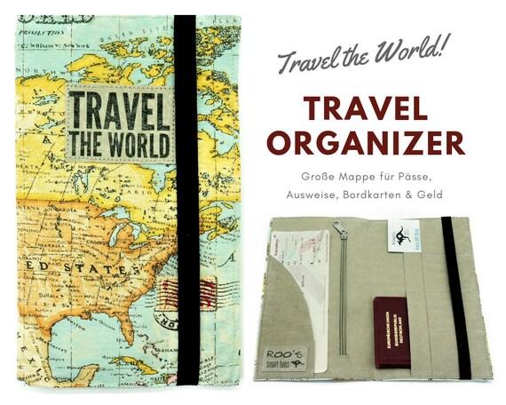 Travel Organizer | Travel Etui | World map | Document folder | Traveller | Reisehülle | Passport Case | Portfolio | Map | Atlas