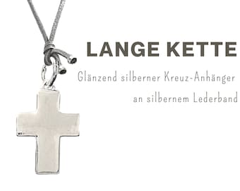 Long necklace with large cross pendant | Silver Shiny | Leather strap | Chain Pendant | XXL Pendant | Cross Pendant | Cross chain long ribbon