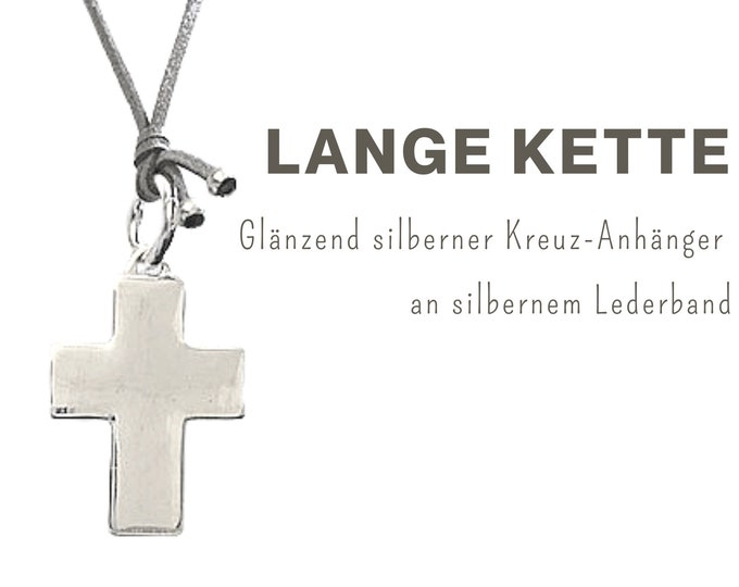 Long necklace with large cross pendant   Silver Shiny   Leather strap   Chain Pendant   XXL Pendant   Cross Pendant   Cross chain long ribbon