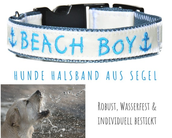 Sailcloth Dog Collar with NAME | 2.5cm | Upcycling | Customizable for every dog - configure your own collar.