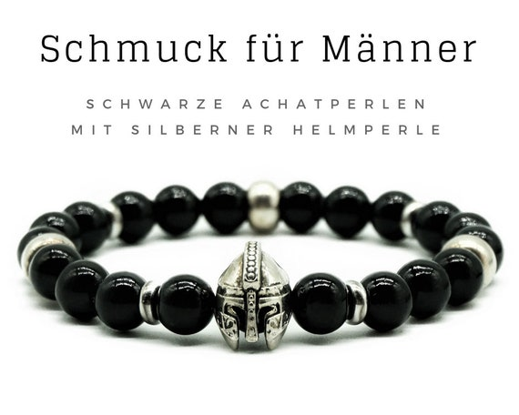 Bracelet for Men | Black agate beads with silver helmet | Romans | Etrusker | Achat Men's Jewelry | Men's bracelet | Pearl bracelet | Agate