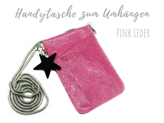 Pink Mobile phone Bag for Cloting | Crossbody Phone Case | Leather | Mobile phone Handheld Bag | Cross Body Leather Sleeve | Leather mobile Phone Chain with Star