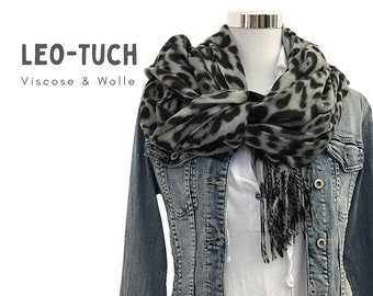 Leo Tuch | Scarf with leo pattern | woven printed cloth | Viscose Wool | Animal Print