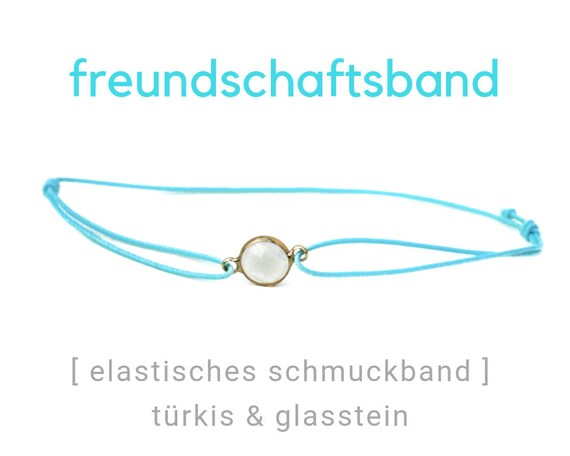 Elastic Friendship Band | Jewelry Band | Stone | Gold & Turquoise | Rubber | Sliding knots | Wish Band | Elastic band |
