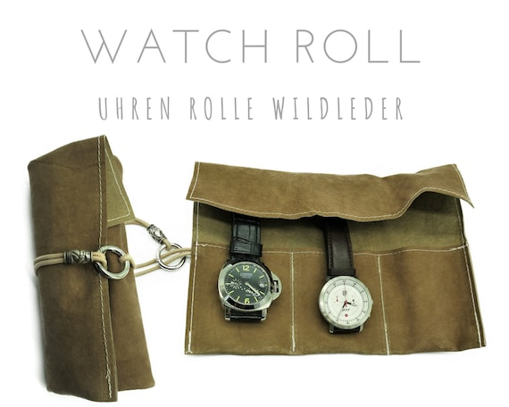Light Brown 3-er Watch Roll suede | Gift for Men | Wristwatches Roll 3 Watches | Travel Watches Storage | Watch Roll | Leather Roll