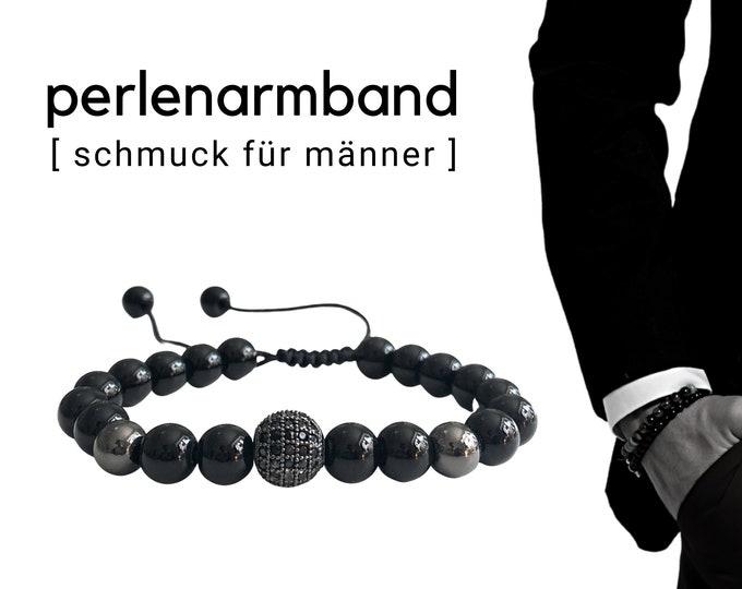 Black beaded bracelet   Onyx   Zirconia jewellery bead   Pavé   Men's jewellery   Men's bracelet   Gift boyfriend father   Bracelet customizable