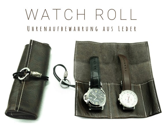 Brown Watch Roll | Gift for Men | Wristwatches Roll 2 watches | Travel Watches storage in vintage leather | Watch roll | Leather roll