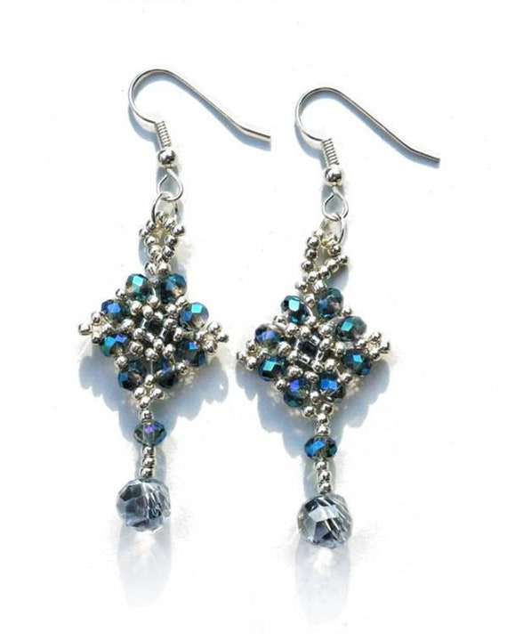 Woven Beads Earrings | Silver with blue faceted glass beads | Light Blue