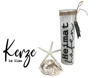| candles in a glass slim glass | Home port | A sense of home | | candles with message Skandi Decoration Gift Idea | maritime