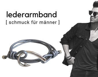Wrap leather bracelet for men | large hook stainless steel | Men's bracelet | maritim | robust | Father's Day | grey brown silver