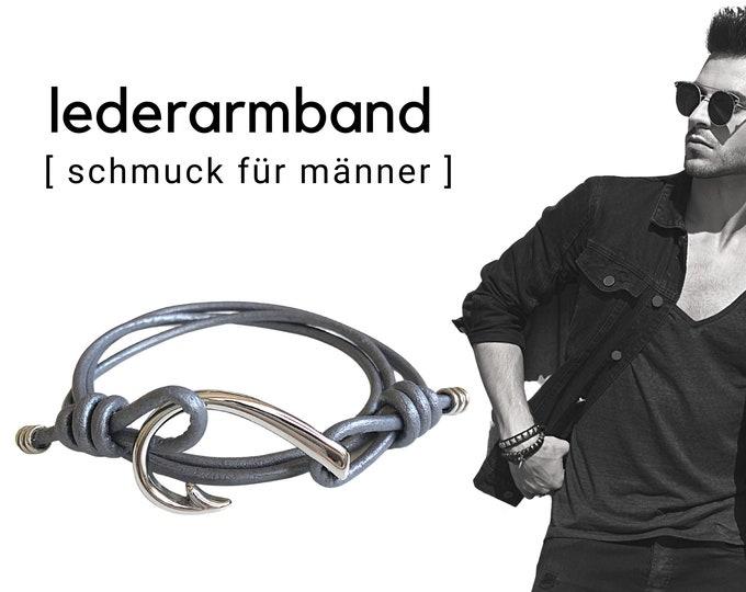 Wrap leather bracelet for men   large hook stainless steel   Men's bracelet   maritim   robust   Father's Day   grey brown silver