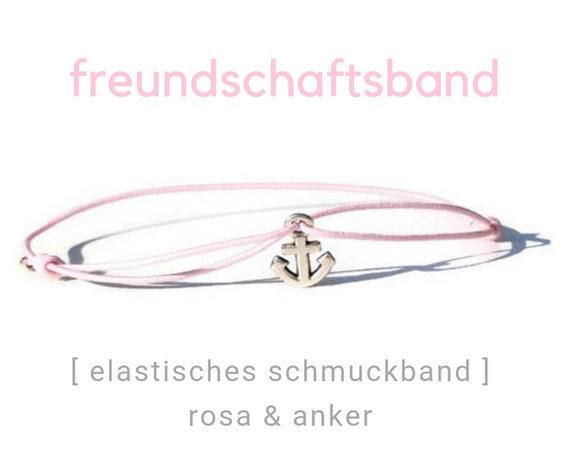 Bracelet | Jewelry Band | Pink | The Anchor | Silver Plated | Sliding knots | Elastic | Rubber | Friendship Band | Wish Band |