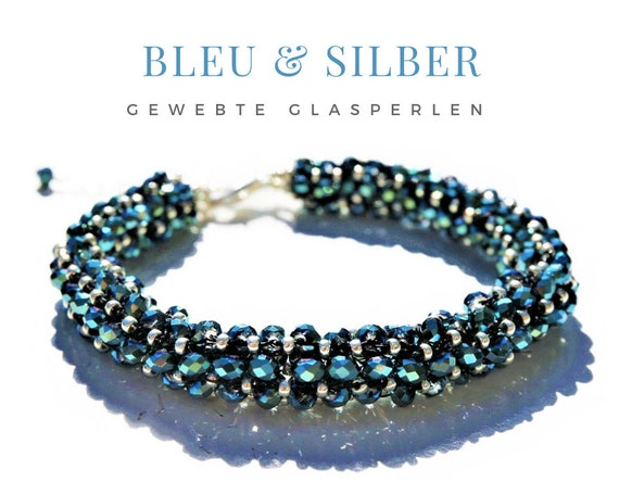 Woven Bracelet | Faceted Glass Beads | Carabiner Lock | Blue Silver | Pearls | Pearl Bracelet | Extension chain