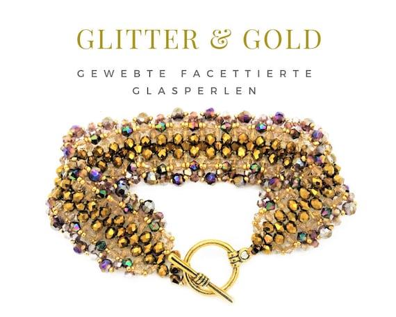 Woven Bracelet | Pearls | Gold | Rainbow Colors | Gag Closure | Faceted Glass Beads | Pearl Bracelet | Gold Bracelet