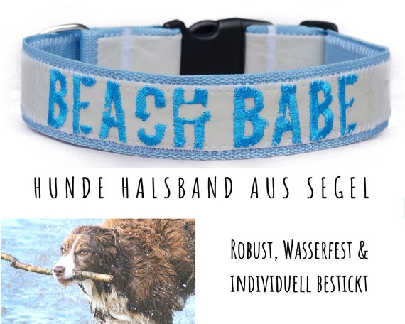 Light blue sail dog collar | BEACH BABE | Upcycling | Embroidery | Strap band | Half-circumference 55-59 cm | 4 cm wide