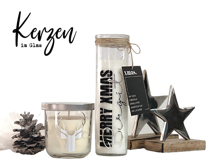 Candle in the glass | Christmas | XMAS personalizes | | candles with message Skandi Decoration Gift Idea | Souvenir Advent Calendar