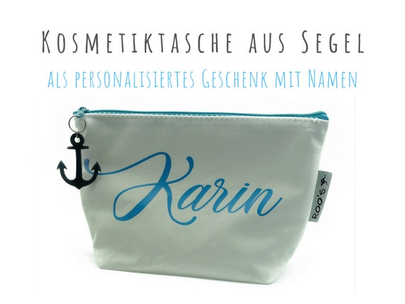 Personalized: White cosmetic bag made of sail | Upcycling | Make-up bag | Sailing bag | White with name and leather anchor