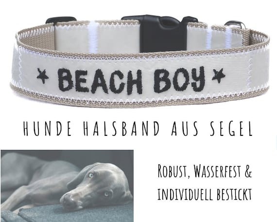 Beiges Sail Dog collar | BEACH BOY | Upcycling | Embroidery | Strap band | Half-circumference 52-60 cm | 4 cm wide