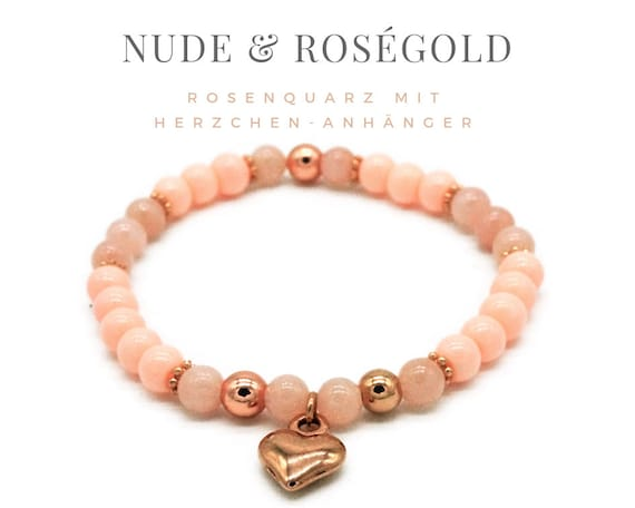 Elastic Bracelet | Nude & Rose Gold | Rose quartz and glass beads | Gilded pendant Heart