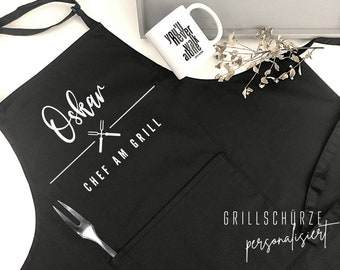 Personalized grill apron for him | Chef at the grill | BBQ Apron Men by Name | black, white, grey | Gift Papa Father Brother