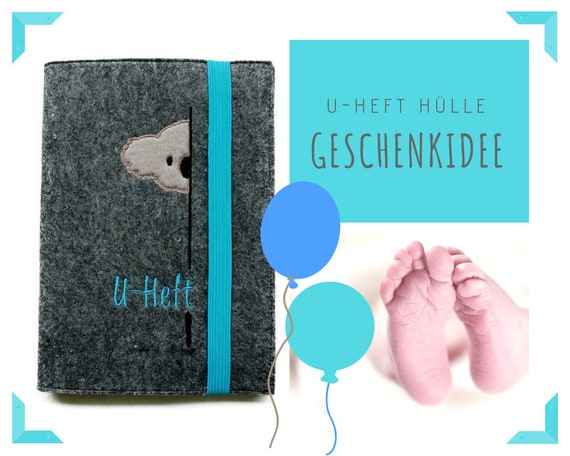 U-Hefthülle | Hefthülle | Felt | Wish name | Koala | Case investigation booklet | Individually embroidered | Gift Birth or Baptism