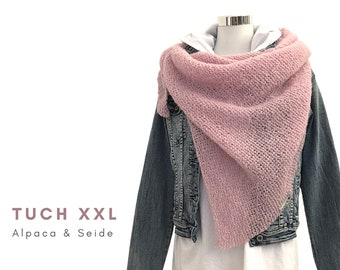 Pink Knitted Cloth XXL | Alpaca with silk | light pink | feather-light triangular cloth | Scarf | Stole | Lace Cloth | Knitted scart