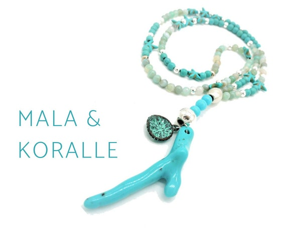 Turquoise mala necklace with coral pendant and starfish beads | Jade | Silver | Mala | Prayer Chain | Trailer | Statement