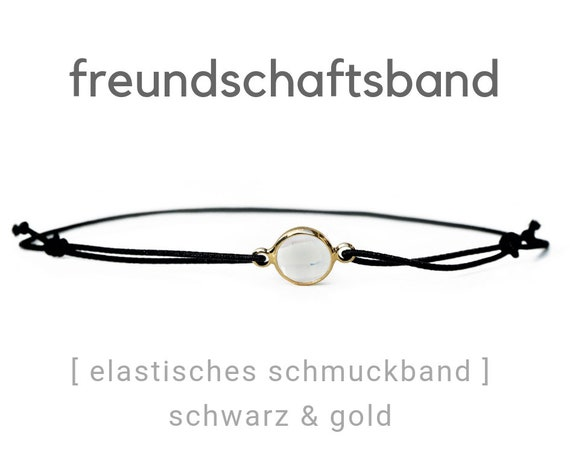 Elastic Friendship Band | Jewelry Band | Polished Crystal Stone | Gold & Black | Rubber | Sliding knots | Wish Band
