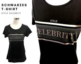Noble Black T-Shirt | Statement Shirt | black-silver |  Style Celebritiy | Round neck