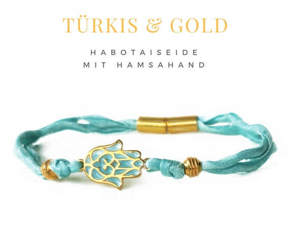 Turquoise bracelet with Golden Hamsahand | Enamel HAMSA Hand | Habotaiseide Band | Magnetic Closure | Turquoise with gold