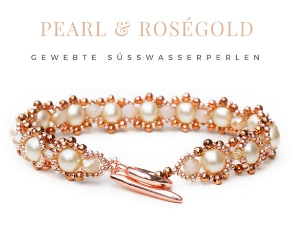 Rose gold bracelet | woven freshwater pearls | rose gold copper beige | Pearls | Toggle closure | Pearl Bracelet | beadwork