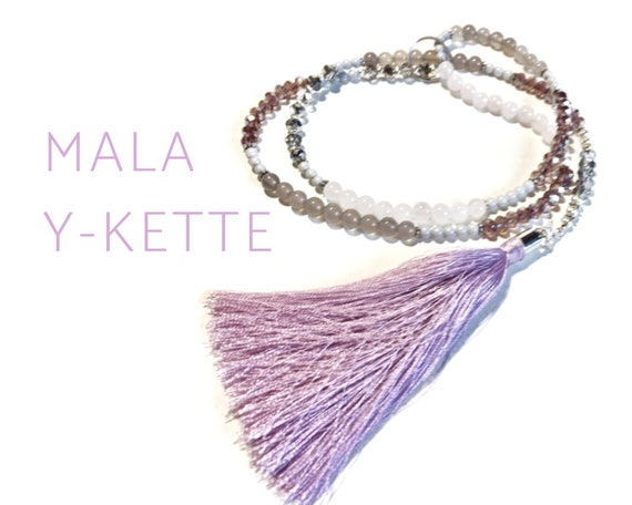 Mala necklace as an open Y-chain with rose quartz and agate | Grey pink silver | Silk tassel | Prayer Chain | Wrap necklace