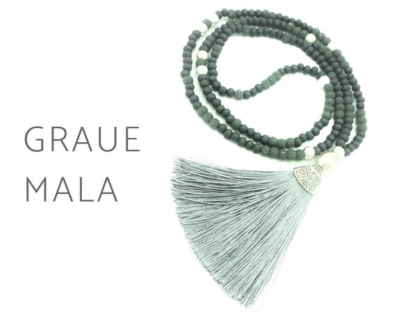 Grey Mala necklace made of frosted beads with grey silk tassel | Silver Beads | Wood Beads | Prayer Chain | Mala | 108 | Yoga