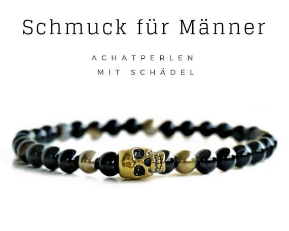 Elastic Men's Bracelet   Black & Gold   Achate pearls   Skull   Pearl bracelet   Elastic bracelet   Skull   Skull   Agate