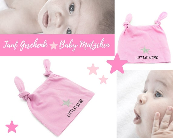 """Pink baby hat   Embroidery """"Little Star""""   Embroidered star in silver   2 knots   First Hat   Baby Gift Baptism Birth"""