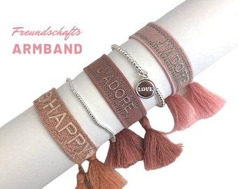 Pink Friendship Bracelet | Webband | knotted woven embroidered bracelet | Ibiza Tassels | | Bracelet HAPPY | LOVE JADORE