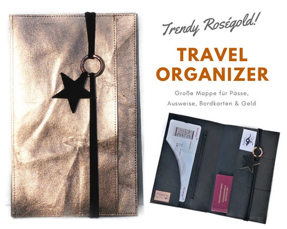 Travel Organizer in roségold from Washable Paper with leather star | Travel Documents Etui | Document folder | Travel case | Passport Mappe Star