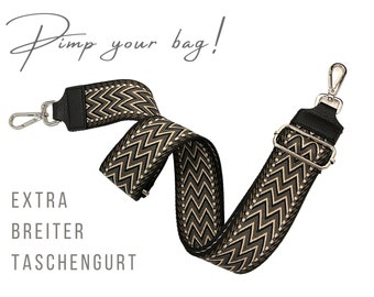 Wide ethno strap for handbag | 5 cm | Crossbody Bag | XXL belt | adjustable | Replacement belt | black white brown grey | Zig Zag Pattern