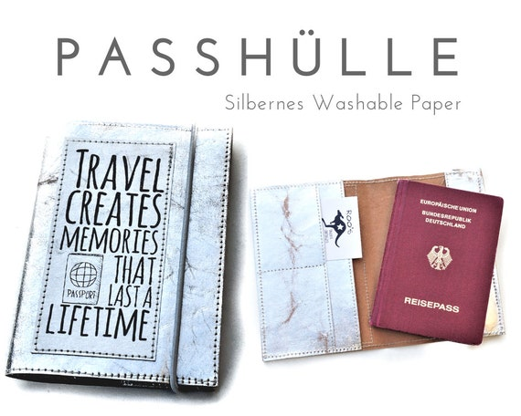 Passport Cover | Travel Organizer | Silver | Washable paper | Passport, papers, cards, driving licence, credit card, business cards